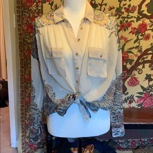 Free People Paisley Sheer Buttondown Small